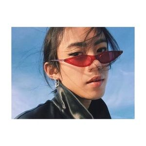 Red Cat Eye Small Frame Sunglasses